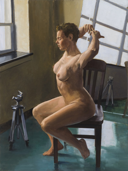 """Woman Stretching, 30"""" x 40"""", oil/canvas"""