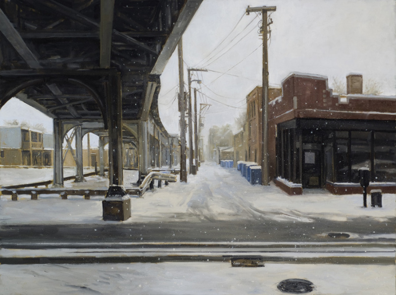 """Alley and El in Light Snow, 30"""" x 40"""""""