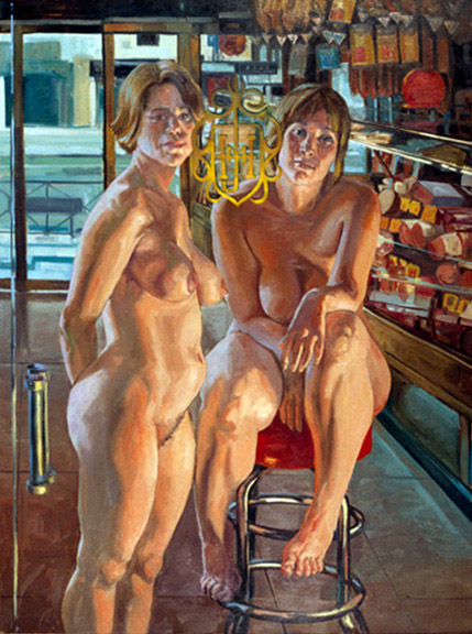 """Two Woman at the Muse De Jamon, 38"""" x 43"""", 2001"""