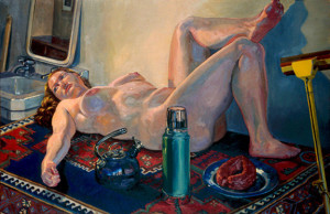 """The Cleaning Woman At Rest, oil/canvas, 36"""" x 42"""", 1999"""