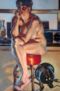 "Figure study with a Lamp, 24""x 36"", 1990"